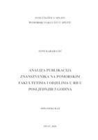 Analiza publikacija znanstvenika na Pomorskim fakultetima u RH u posljednjih 5 godina