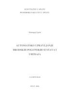 Automatsko upravljanje brodskih pogonskih sustava i uređaja